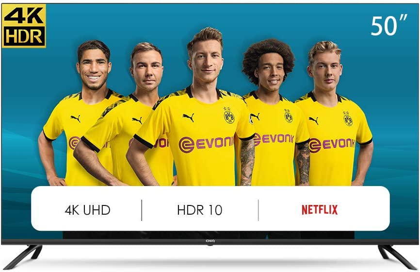 CHiQ U50H7L UHD 4K Smart TV, 50 Pouces, HDR10/hlg, WiFi, Bluetooth, Prime Vidéo, Netflix 5,1, Youtube Kids,Chromecast Built-in, HDMI,USB