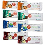 D's Naturals No Cow Bar Variety Sampler Pack, 8 Pack, Includes: 2 Raspberry Truffle, 2 Peanut Butter Chocolate Chip, 2 Mint Cocao Chip, 2 Blueberry Cobbler