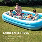 Sable Inflatable Pool, Blow Up Swim Center Family Pool for Toddlers, Kids, 118' X 72' X 20', for Ages 3+, Blue & White
