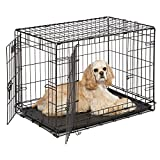 Dog Crate | MidWest iCrate 30' Double Door Folding Metal Dog Crate w/ Divider Panel, Floor Protecting Feet & Leak-Proof Dog Tray | 30L x 19W x 21H Inches, Medium Dog Breed, Black