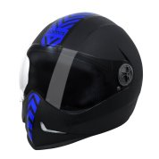 Steelbird SB-50 Adonis Dashing Black Blue with Plain Visor,600mm under Riders Clothing for Motorcycle Driving