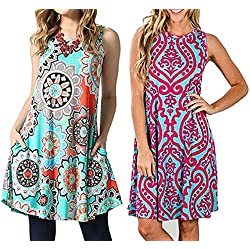 YeeATZ Women's Summer Casual Sleeveless Floral Printed Swing Dress Sundress with Pockets Red Green XXL