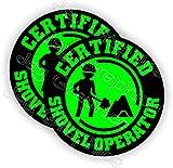 (Pair) Certified SHOVEL OPERATOR Funny Hard Hat Stickers | Motorcycle Welding Biker Helmet Decals | Vinyl Weatherproof Labels Laborer Foreman Welder Lineman Driller Dredger Construction Safety Badass
