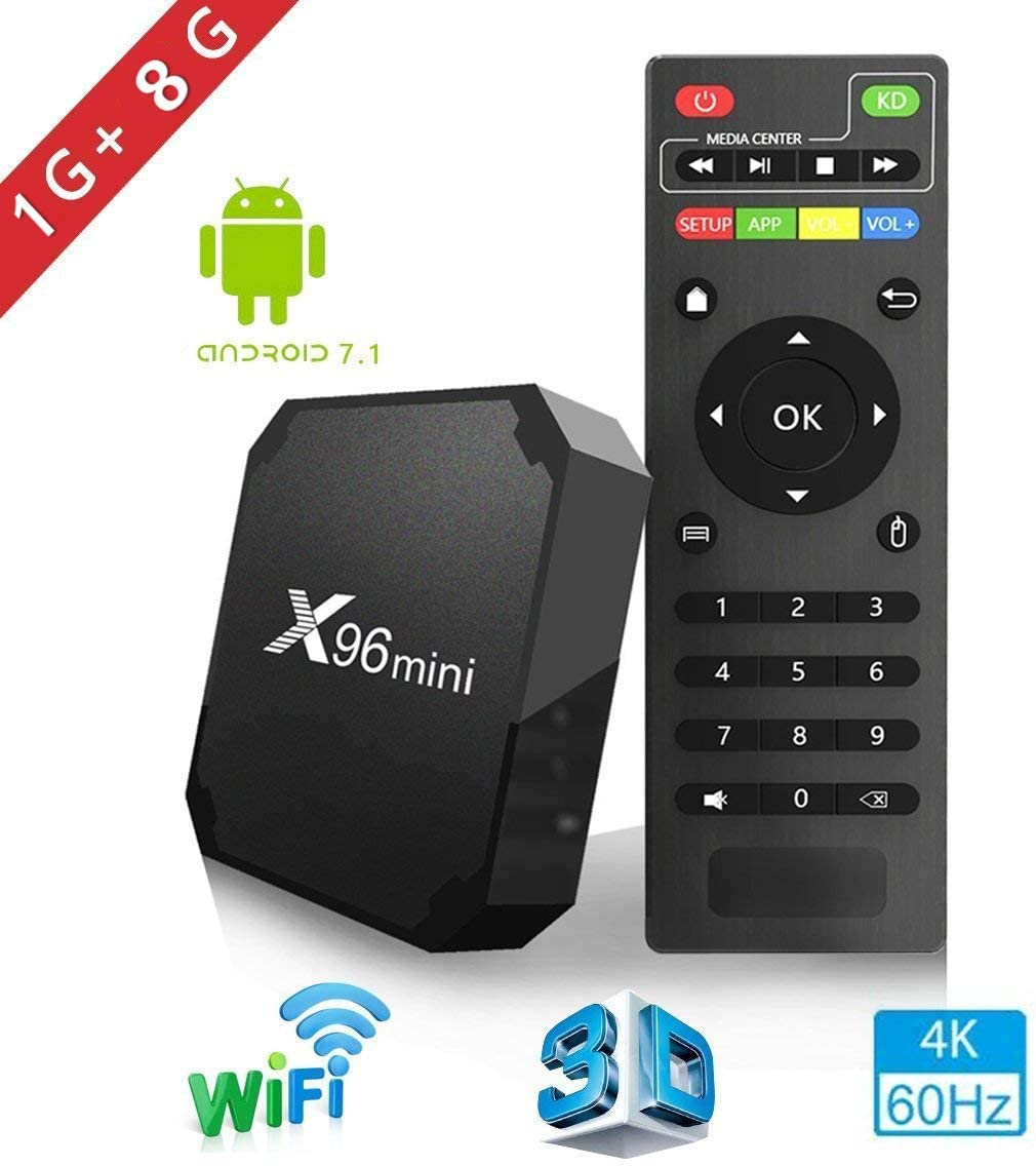 X96mini TV Box Android 7.1.2, 1+8G 4K Boîtier Numérique et Intelligent pour la Télévision CPU Amlogic S905W Quad Core Arm Cortex A53 Connexion Netflix et Youtube Impossible