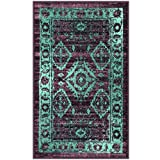 Maples Rugs Kitchen Rug - Georgina 1'8 x 2'10 Non Skid Small Accent Throw Rugs [Made in USA] for Entryway and Bedroom, Wineberry/Teal
