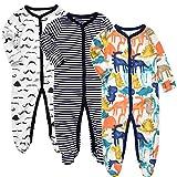Exemaba Baby Boys' Footed Sleeper Pajamas - Infant Long Sleeve Warm One Piece Footies Pjs Onesies Sleep and Play 10-12 Months