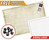 "RPG Battle Game Mat - Dry Erase Double sided - 36"" x 24"" - Free Dry Erase Markers and Polyhedral Dice Set - Table Top Role Playing Map"