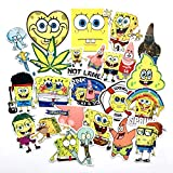22 Pcs Cartoon Anime Spongebob Waterproof Stickers for Laptop Stickers Motorcycle Bicycle Skateboard Luggage Decal Graffiti Patches Stickers for [No-Duplicate Sticker Pack]