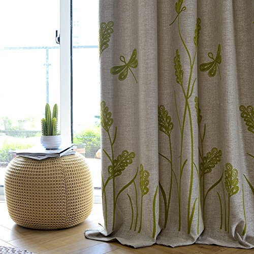 Melodieux Wheat Embroidery Wide Thermal Insulated Blackout Grommet Top Curtains for Sliding Glass Door, Beige/Green, 100 by 96 Inch (1 Panel)