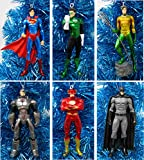 Ornament Super Hero Christmas Set Featuring Classic Justice League Member Characters - Unique Shatterproof Plastic Design