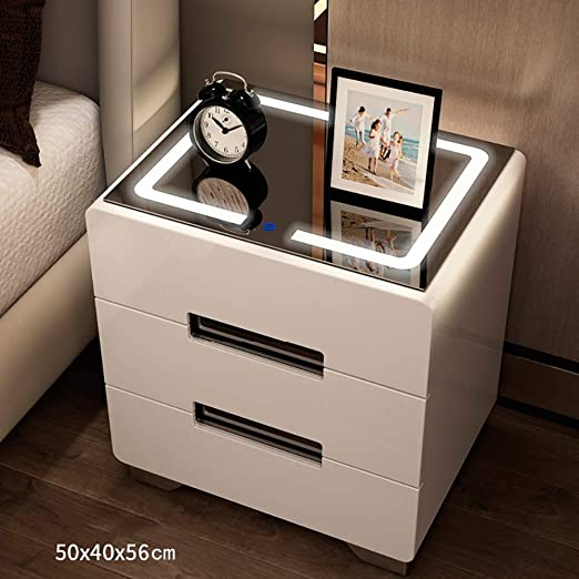 Amazon Com Modern Bedside Table With 3 Drawers Glossy Rgb Led Lights Modern Bedroom Furniture Tempered Glass Panel With Lighting Wooden Side Table White Black No Assembly Required Furniture Decor
