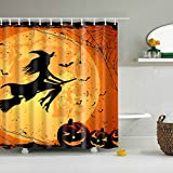Adarl Happy Halloween Shower Curtain Waterproof Fabric Bath Curtains,Set of 12 Rings/66x72inch,for Bathroom Decor(Halloween-4)