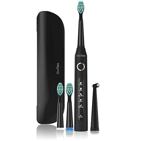 5 Modes Electric Toothbrush with Travel Case, Rechargeable Sonic Toothbrush for Kids and Adults, Smart Timer, USB Toothbrush Up to 30 Days Battery Life, Powered Toothbrushes in Black, Soft
