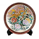 Jpanese traditional ceramic Kutani ware. Decorative Plate with a stand. Peony flower and bird. With wooden box. ktn-K5-1388