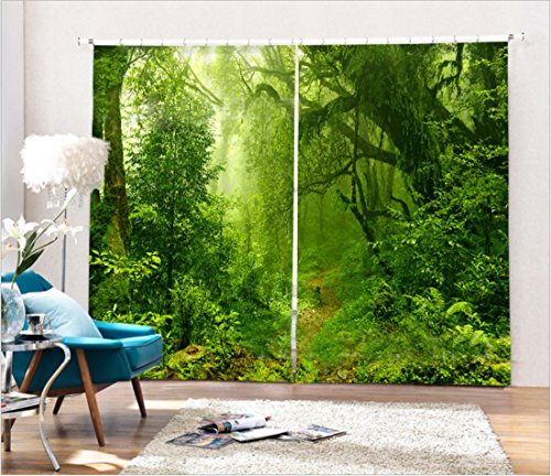 LB 2 Panels Room Darkening Thermal Insulated Blackout Window Curtains,Dense Forest 3D Window Drapes for Living Room Bedroom - 80 Inch Width by 63 Inch Length