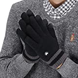 LETHMIK Thick Touchscreen Knit Gloves,Mens&Womens Winter Solid Color Knitted Warm Wool Lined Texting Gloves Black