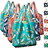 Reusable Grocery Shopping Bags Foldable with Pouch, Heavy Duty Nylon Cloth Reusable Bags for Groceries, Shopping Trip (Leaves, 6-pcs)