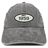 Trendy Apparel Shop Established 1959 Embroidered 60th Birthday Gift Pigment Dyed Washed Cotton Cap - Black