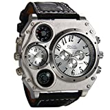 Avaner Mens Military Quartz Wrist Watch Black PU Leather Strap Big Face Two Time Zone Analog Display Compass Thermometer Decorative Dial Sport Watch
