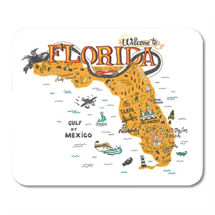Semtomn Gaming Mouse Pad Cartoon Of Florida Map Tourist Attractions Travel Miami Drawn Hand 9 5 X 7 9 Decor Office Nonslip Rubber Backing Mousepad Mouse Mat Amazon Co Uk Office Products