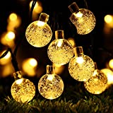 Globe Battery Operated String Lights with Timer - RECESKY 30 LED 17.5ft Crystal Ball Decor Lighting for Outdoor Indoor Garden Party House Garland Ornament Christmas Tree Decorations - Warm White