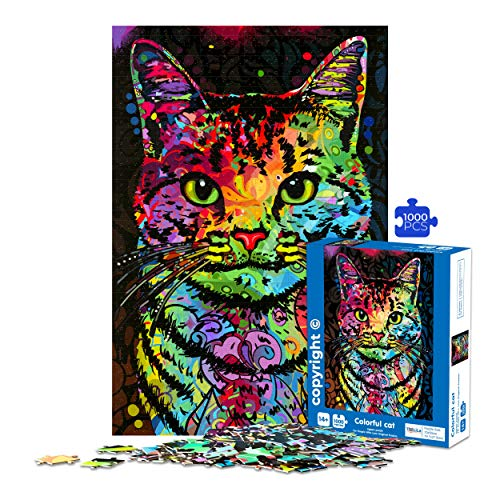 Jigsaw-Puzzles-for-Adults-Teens-1000-Piece-Colorful-Cat-28x20-Inches-Jigsaw-Cats-Puzzles-1000-Pieces-for-Adults-Get-Your-Exclusive-Art-1000-Piece-Puzzles-for-Adults-Home-Decor-Puzzle-in-Beautiful-Box