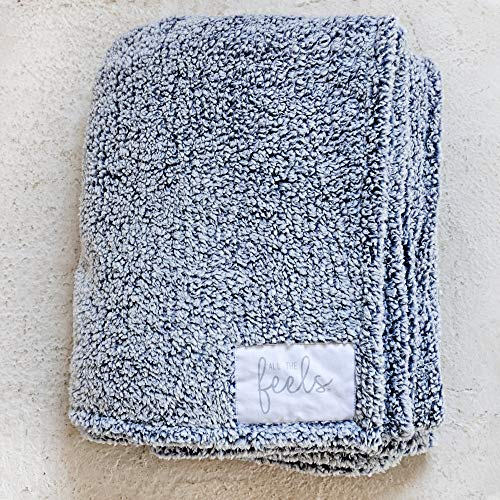 All the Feels Premium Sherpa Blanket, Throw, 50x60, Mood Indigo Lightweight Throw Blanket, Super Soft Cozy Blanket