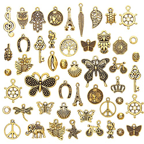Ownsig 50 Pieces Antique Gold Assorted Charms Pendants DIY for Jewelry Making