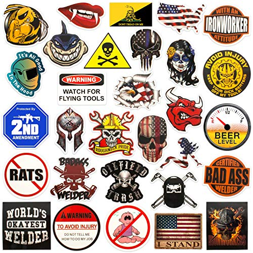 Hard hat stickers |Big 30-Pack | Badass American patriotic accessories for helmet,hardhat,welding,tool box,construction,union,military,ironworker,lineman,oilfield,electrician,pipeliner,ibew