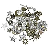 Wholesale Mixed Moon Sun Stars Pendants, Celestial Charms, Bulk Pagan Wicca Wiccan Charms, Bracelet Charms, UK Jewelry Making Supplies