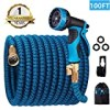 monyar Garden Hose Expandable Water Hose 100 Feet,Extra Strenght/No-Kink Lightweight/Durable/Flexible/10 Function Spray Hose Nozzle 3/4 Solid Brass Connectors Garden Hose for Watering/Washing