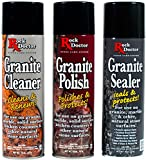 Rock Doctor Granite Care Kit, 3 Piece Maintenance Stone Care Combo Kit - All-in-One Rock Surface Care System Includes Protective Granite Cleaner, Granite Polish & Granite Sealer (18oz Each)