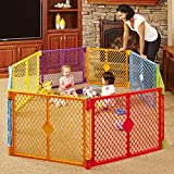 North States Superyard Colorplay 8-Panel Play Yard: Safe Play Area Anywhere - Folds with Carrying Strap for Easy Travel. Freestanding. 34.4 sq. ft. Enclosure (26' Tall, Multicolor)