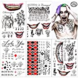 5 Large Sheets Joker Tattoos, the Joker Temporary Tattoos from Harley Quinn Joker Suicide Squad - Perfect for Halloween, Parties, Cosplay and Costumes