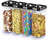 DWËLLZA KITCHEN Airtight Food Storage Containers with Lids - 4 Piece Set/All Same Size - Medium Air Tight Clear Plastic Pantry & Kitchen Container for Chips & Snacks BPA-Free - Keeps Food Fresh & Dry