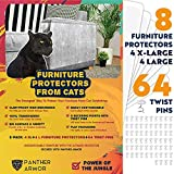 Panther Armor Furniture Protectors from Cat Scratch - 8(Eight)-Pack - Couch Guards for Cats - 4-Pack XL 17'L 12'W + 4-Pack Large 17'L 10'W Cat Scratch Deterrent - Couch Corner Cat Scratch Repellent