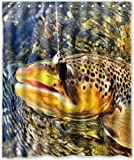 Shower Curtain 60'x72' Inches Brook Trout Fly Fishing New Waterproof Polyester Fabric Bath Curtain (Shower Rings Included)