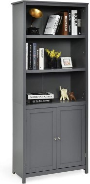Standing Wooden Display Bookcase with Double Doors