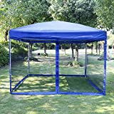 VIVOHOME 210D Oxford Outdoor Easy Pop Up Canopy Screen Party Tent with Mesh Side Walls Blue 10 x 10 ft