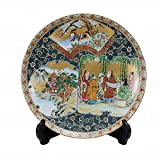 Jpanese traditional ceramic Kutani ware. Decorative Plate with a stand. Funds blue dott waritori. With wooden box. ktn-K5-1402