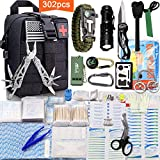Monoki First Aid Survival Kit, 302Pcs Tactical Molle EMT IFAK Pouch Outdoor Gear EDC Emergency Survival Kits First Aid Kit Trauma Bag for Hiking Camping Hunting Car Travel or Adventures(Black)