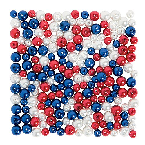 Fun Express - Patriotic Pearl Bead Assortment for Fourth of July - Craft Supplies - Adult Beading - Glass Beads - Fourth of July - 200 Pieces