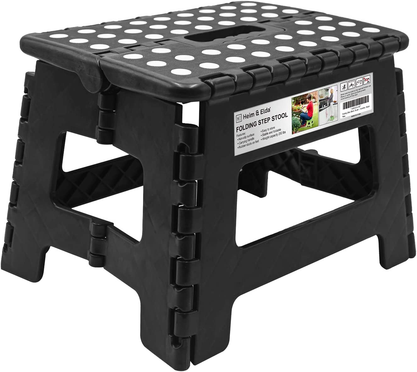 Folding Step Stool 9 Inch Height Foldable Stool For Kids Adults Kitchen Garden Bathroom Collapsible Stepping Stool Black Amazon Co Uk Kitchen Home