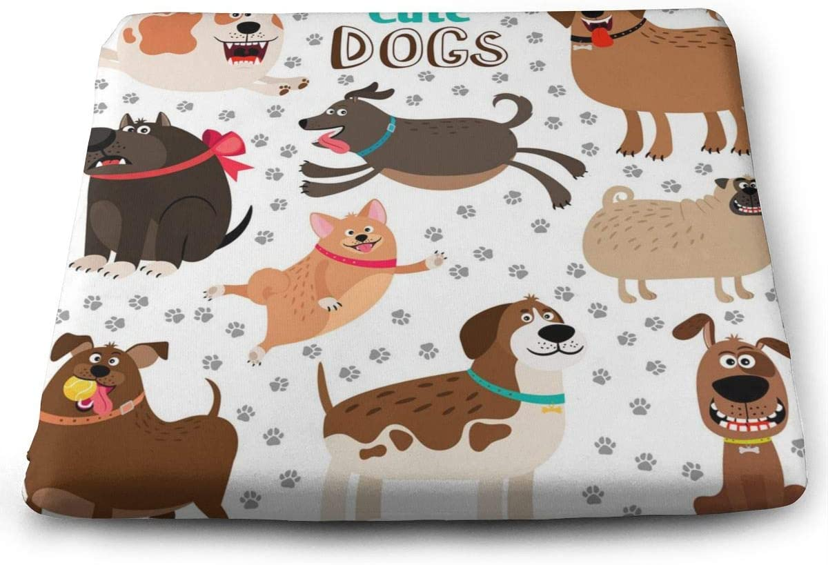 Amazon Com Yunshm Collection Of Cute Cartoon Dogs Memory Foam Chair Pads Square Cushion Booster Cushion Soft For Office Home Or Car Sitting Personalized Home Kitchen