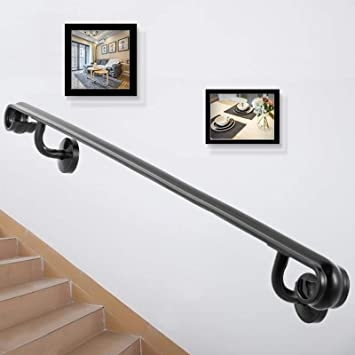 Happybuy Stair Handrail Two Step Stair Rail 2Ft Length Modern   Black Modern Stair Railing   Raised Ranch   Outdoor   Stainless Steel   Colour Combination   Creative Diy
