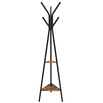 Songmics Vintage Coat Rack Stand Coat Tree Hall Tree Free Standing Industrial Style With 2 Shelves For Clothes Hat Bag Black Vintage Rcr16bx