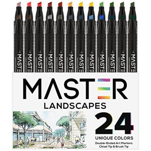 24 Color Master Markers Landscape Tones Dual Tip Set – Double-Ended Art Markers with Chisel Point and Standard Brush Tip – Soft Grip Barrels – Draw, Design, Render Plants & Trees