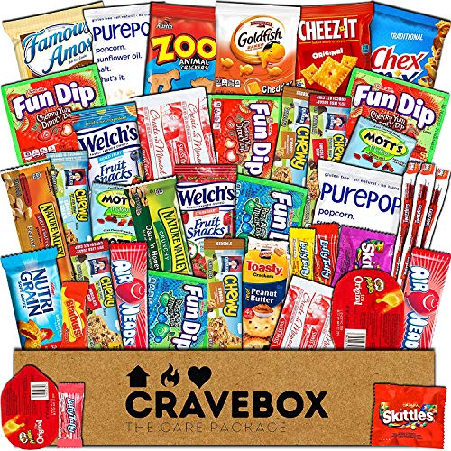 CraveBox - Care Package (40 Count) Snack Box - Variety Assortment Bundle of Snacks, Candy, Chips, Chocolate, Cookies, Granola Bars, for Students, Office, Midterms, Spring Final Exams, Easter Sunday