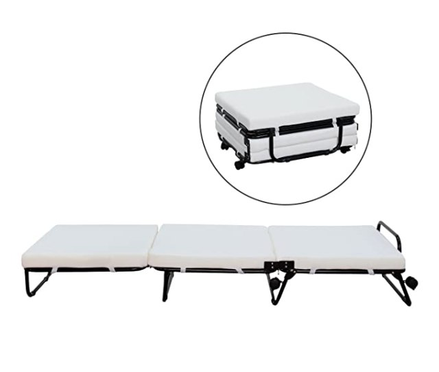 Amazon Com Homcom Twin Size Folding Convertible Sleeper Bed Ottoman With Beige Slip Cover Kitchen Dining
