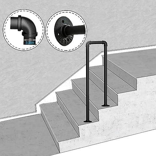 Amazon Com Lanna Shop 2 Step Transitional Handrail U Shaped   Black Outdoor Stair Railing   Black Vinyl   Cast Iron   Residential   Outside Building   Three Step